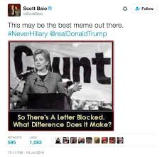 Tweet Meme - rnc speaker scott baio tweeted meme referring to hillary clinton as