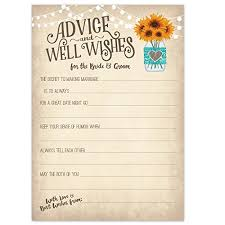 wedding advice cards vintage rustic country wedding advice cards sunflowers in