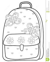 backpack coloring page stock illustration image 52718445