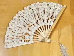 decorative fan wedding battenburg lace fan
