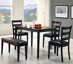 black high gloss teak wood tall dining table with square tapered