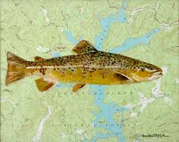 Topographical Map Of Georgia Brown Trout Lake Burton Ga U2014 Wildlife Paintings Coastal Fish