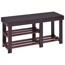 Southport Shoe Storage Bench With Cushion Furniture Black Stained Wood Entryway Bench With Shoe Rack And