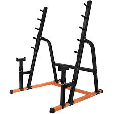 mirafit heavy duty weight lifting rack u0026 bench press spotter