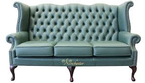 Green Leather Sofa by Chesterfield 3 Seater Queen Anne High Back Wing Sofa Jade Green