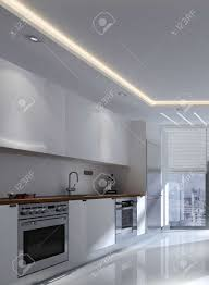 kitchen wall mounted cabinets monochromatic white modern fitted kitchen interior with built