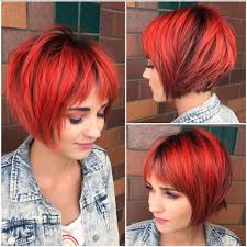 graduated bob with fringe hairstyles women s choppy red graduated bob with fringe bangs and black