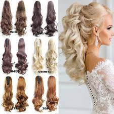 clip on ponytail women s curly human hair clip in extensions ebay