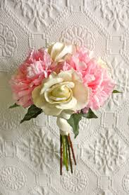 Peonies Bouquet Pink Peony Bouquet With Ivory Roses Bridesmaid Bouquet