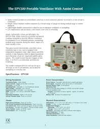 Assist Control Ventilation Epv200 Allied Healthcare Products Pdf Catalogue Technical