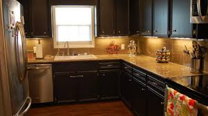 Ceramic Tile Backsplash by Quartz Countertops With Dark Cabinets Ceramic Tile Backsplash Dark