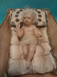 poured wax baby jesus in embroidered creche ruby lane antiques