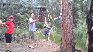 nate does the backyard zip line in pinetop az youtube