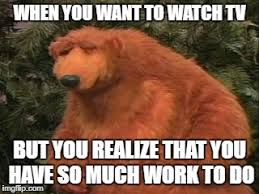 Exhausted Meme - image tagged in frustrated bear work tv television exhausted