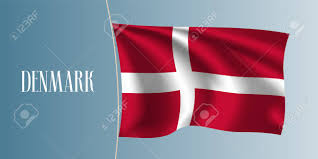 Flag With Cross And Stripes Denmark Waving Flag Vector Illustration Red White Cross As A