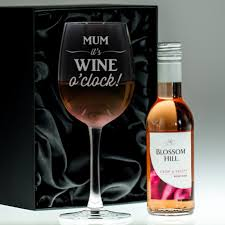 wine set gifts personalised glass and wine gift set o clock