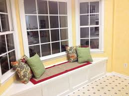 Bay Window Cushion Seat - sophisticated bay windows with rectangular striped windows