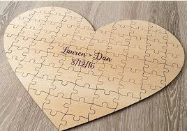 anniversary guest book custom heart rustic puzzles wedding guest book birthday