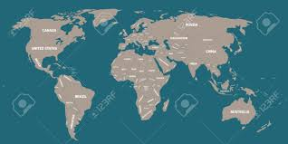 Map With Labels Grey Political World Map With Blue Background And White Labels