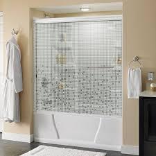 frameless shower doors showers the home depot simplicity 60 in x 58 1 8 in semi frameless sliding