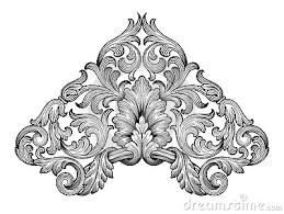 vintage baroque frame scroll ornament vector leaf script a