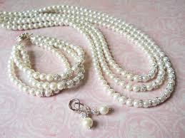 pearl bracelet set images Bridal jewelry set three piece pearl set crystal pearl jewelry jpg