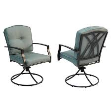 Patio Dining Chairs With Cushions Shop Garden Treasures Cascade Creek 2 Count Black Steel Patio