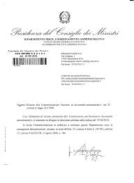 ultimo consiglio dei ministri pirp accesso agli atti presidenza consiglio ministri accoglie