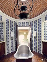 bold color bathroom ideas bath design unique interiors blue tile hand painted tile freestanding tub bold color bathroom ideas