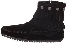 womens boots near me minnetonka fringe side zip boot womens boots black schwarz