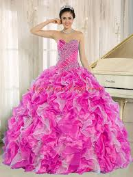 pink beaded and ruffles elegant quinceanera dresses