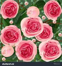 Wedding Flowers Background Rose Pearl Seamless Wedding Flowers English Stock Vector 693375856