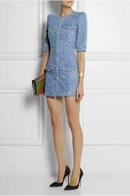 balmain denim mini dress in blue lyst