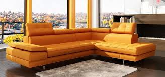 orange leather sectional sofa modern home and office furniture store 5057 modern orange tufted
