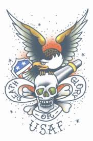 military usaf death or glory temporary tattoo tinsley