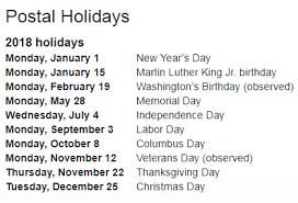 usps holidays 2018 federal holidays 2018 usps hold mail service