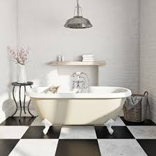 champagne coloured bath new champagne coloured roll top bath with exposed brick walls and black and white tiles floors