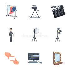 a movie camera a floodlight a chromakey and other equipment for