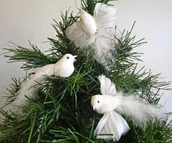 artificial bird dove long tailed small white 4 5 inch on a