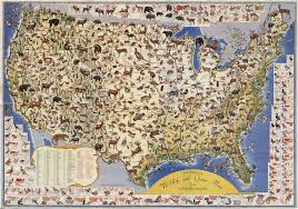 pictorial map of wildlife and game in the us 1956 by ira moss