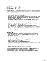 security guard resume security guard cover letter sle 642621 guards position resume 17a