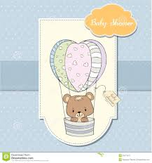 baby boy shower card with teddy bear royalty free stock images