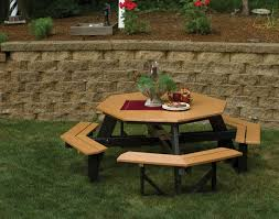 Exteriors Recycled Plastic Picnic Tables Cedar Hexagon Picnic by The 25 Best Picnic Table With Umbrella Ideas On Pinterest