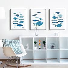 affiches cuisine nouvelle poissons toile peinture nordique moderne mur photos