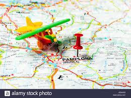 Push Pin Map Red Push Pin Pointing At Pamplona Spain Map Airplane Stock Photo