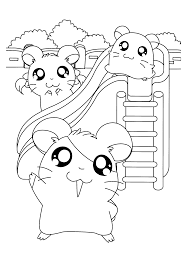 hamtaro and friends play slide hamtaro coloring pages