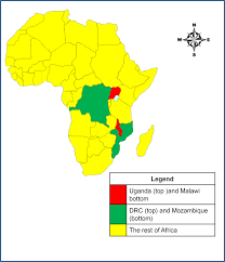 Map Of Africa Countries The Map Of Africa Showing The Location Of Uganda And Malawi And