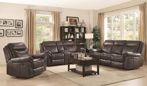 coaster sawyer reclining living room set in brown