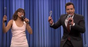 jimmy fallon rashida jones lead medley of parodies of