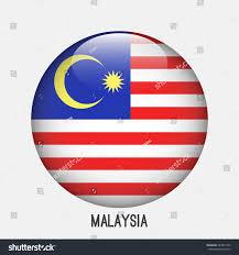 Malasia Flag Malaysia Flag Circle Shape Transparentglossyglass Button Stock